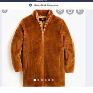 Jcrew Zip-Up Plush Fleece Coat, Copper/Brown